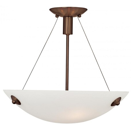 Bronze / Alabaster 3 Light Down Lighting Semi-Flush Ceiling Fixture From The Noya Collection