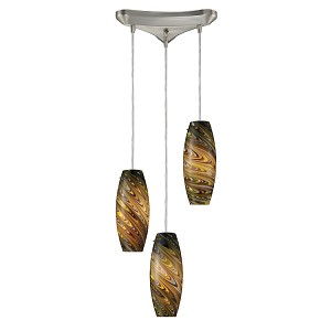 "Vortex Collection 3-Light 12"" Adjustable Pendant with Celestial Blown Glass 10079/3CV"