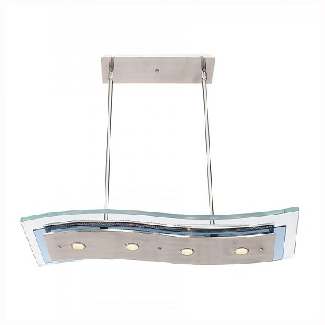 Brushed Steel / Clear Four Light Down Lighting Dual Mount Ceiling Fixture From The Aquarius Collection