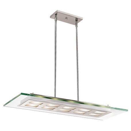 Brushed Steel / Clear Ten Light Down Lighting Dual Mount Ceiling Fixture From The Aquarius Collection