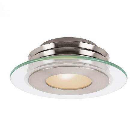 Brushed Steel Helius 1 Light Flush Mount Ceiling Fixture