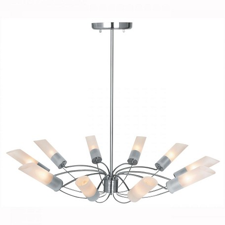 Brushed Steel / Frosted Ten Light Up Lighting Chandelier From The Solar Collection