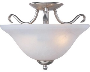 "Basix Collection 2-Light 14"" Satin Nickel Energy Star Semi-Flush Mount with Ice Glass 85120ICSN"
