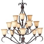 "Basix Collection 15-Light 42"" Oil Rubbed Bronze Chandelier with Wilshire Glass 10129WSOI"