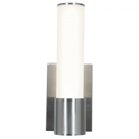 Brushed Steel / Opal Aqueous 1 Light Wall Sconce