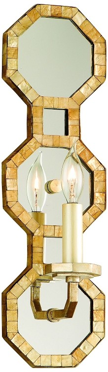 "Regatta Collection 1-Light 16"" Stained Silver Leaf Wall Sconce with Mirror with Genuine Smoked Capiz Shell Mosaic 104-11"