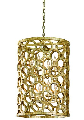 "Regatta Collection 8-Light 28"" Stained Silver Leaf Entry Pendant with Genuine Smoked Capiz Shell Mosaic 104-78"