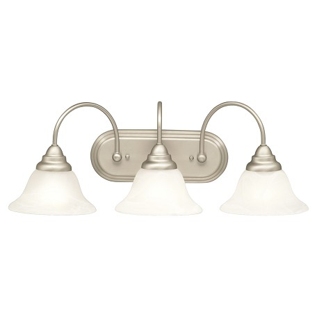 Brushed Nickel Telford Energy Star Rated 36in. Wide 3-Bulb Bathroom Lighting Fixture