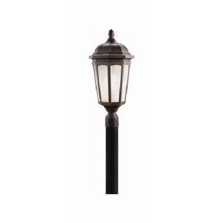 Rubbed Bronze Fluorescent 1 Light Post Light from the Courtyard Collection