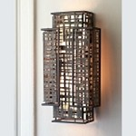 "Shoji Collection 2-Light 18"" Bonsai Bronze Wall Sconce with Textured Pearl Diffuser 105-11"