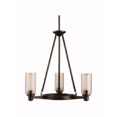 "Circolo Collection 3-Light 22"" Olde Bronze Mini Chandelier with Umber Etched Glass 2343OZ"