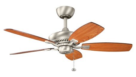 Brushed Nickel Canfield 44in. Indoor Ceiling Fan with 5 Blades - Includes 6in. Downrod