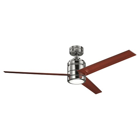 Polished Nickel Arkwright 38in. IndArkwright 3 Blade Indoor Ceiling Fan -  Includes Cool-Touch Remote and 4in. Downrod - Blades Sold Seperately