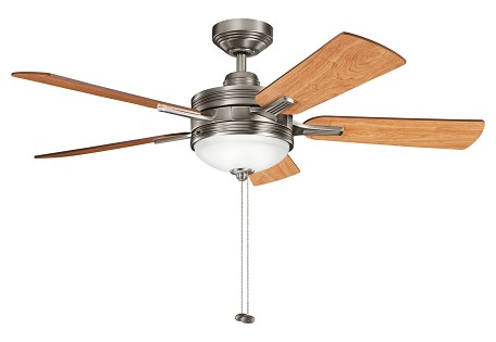 Antique Pewter W/ Light Cherry/dark Cherry Blades Logan 52in. Indoor Ceiling Fan with 5 Blades - Includes Light Kit and 4.5in. Downrod