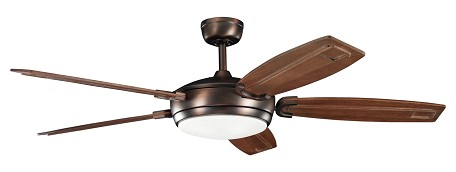 Oil Brushed Bronze With Walnut Stained Blades Trevor 60in. Indoor Ceiling Fan with 5 Blades - Includes Light Kit and 6in. Downrod