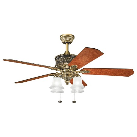 Burnished Antique Brass W/ Poplar Burl / Elm Burl Corinth 52in. Indoor Ceiling Fan with 5 Blades - Includes Light Kit and 6in. Downrod