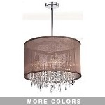 "Shaded Light Design 6-Light 19"" Crystal Pendant or Ceiling Mount with an Organza Shade 85301-151811"