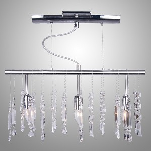 "Crystal Fusion Design 3-Light 22"" Linear Bar Pendant Chandelier with European or 30% Lead Crystals SKU# 10577"