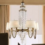 "Viceroy Collection 10-Light 40"" Antique Silver Leaf Crystal Chandelier with White Linen Shades White Linen Hardback Shades 106-010"