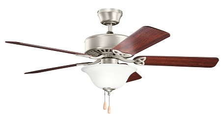 Brushed Nickel Renew Select ES 50in. Indoor Ceiling Fan with 5 Blades - Includes Light Kit, 4in. Downrod
