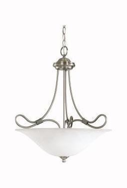 Antique Pewter Stafford 3-Bulb Indoor Pendant with Bowl-Shaped Glass Shade