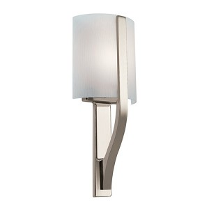 "Freeport Energy Star 1-Light 17"" Polished Nickel Wall Sconce with Etched Linear Glass 10686PN"