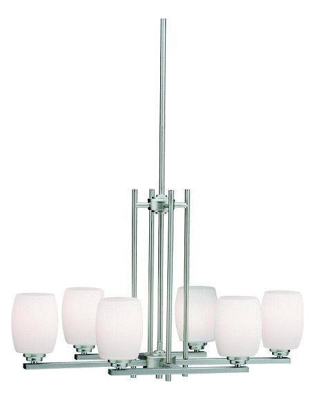 Brushed Nickel Eileen 1 Tier Chandelier with 6-Lights - 36in. Chain Included - 30 Inches Wide