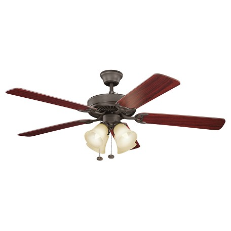 Satin Natural Bronze Basics Revisited 52in. Indoor Ceiling Fan with 5 Blades - Includes Light Kit, 4in. Downrod