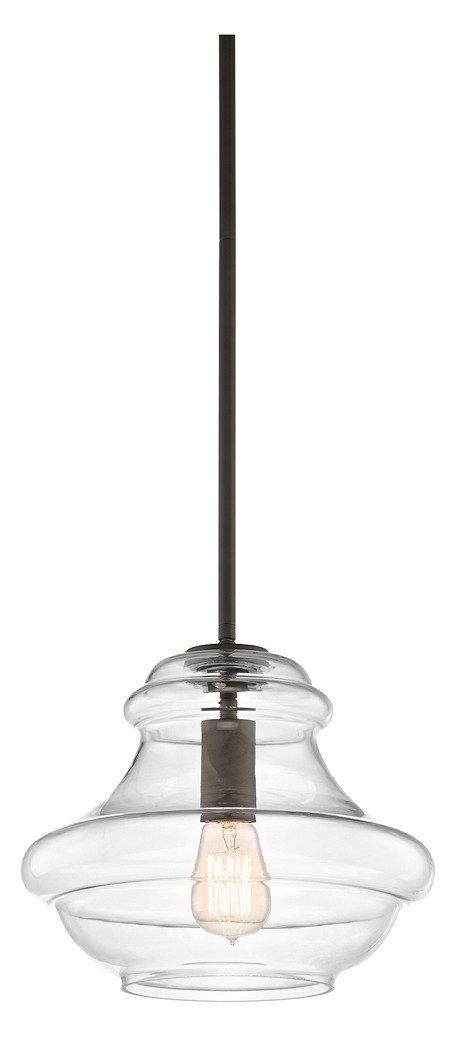 "Everly Collection 1-Light 12"" Oiled Bronze Pendant with Clear Glass 42044OZ"