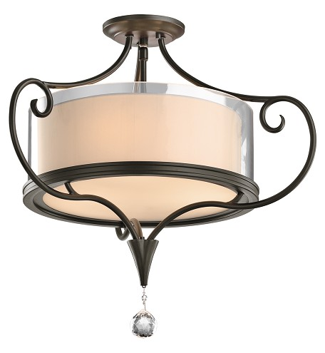 Kichler Two Light Shadow Bronze Drum Shade Semi-Flush Mount - 42866SWZ