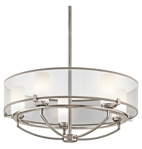 Classic Pewter 5 Light Chandelier from the Saldana Collection- 24 Inches Wide