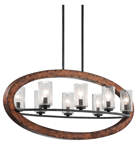 Auburn Grand Bank Single-Tier Linear Chandelier with 8 Lights - Stem Included - 36 Inches Wide