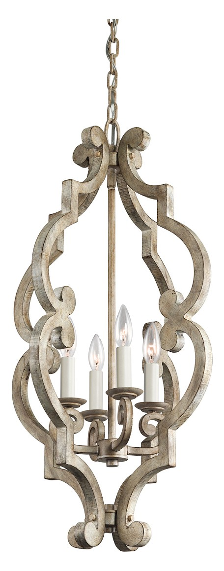 Distressed Antique White Hayman Bay Single-Tier Mini Chandelier with 4 Lights - 72in. Chain Included - 16 Inches Wide