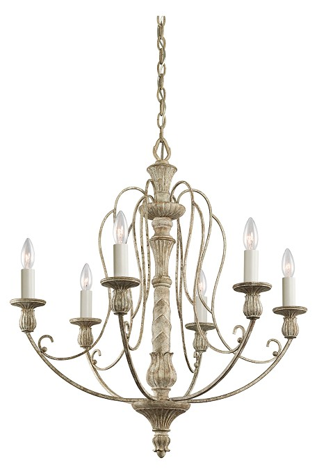 Distressed Antique White Hayman Bay Single-Tier Candle-Style Chandelier with 6 Lights - 72in. Chain Included - 27 Inches Wide