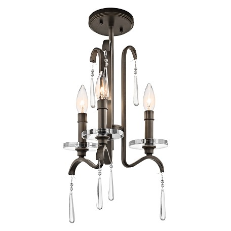 Olde Bronze Tara Single-Tier Candle-Style Chandelier with 3 Lights - 72in. Chain Included - 12 Inches Wide