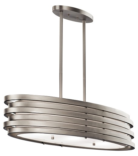 Brushed Nickel Roswell 3-Bulb Indoor Pendant with Oval Metal Shade