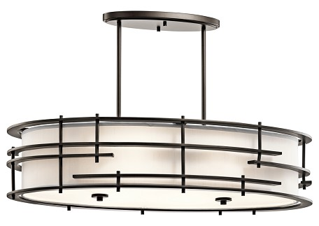 Olde Bronze Tremba 6-Bulb Indoor Pendant with Oval Fabric Shade