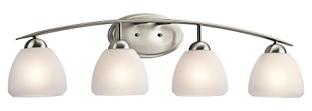 Brushed Nickel Calleigh 4 Light 35in. Wide Vanity Light Bathroom Fixture with Satin Etched Glass Shades