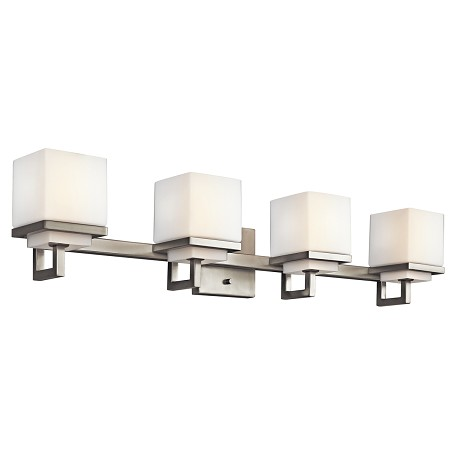 Brushed Nickel Metro Park 30.75in. Wide 4-Bulb Bathroom Lighting Fixture
