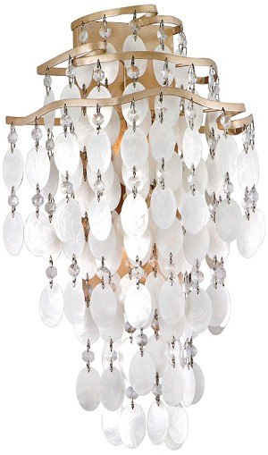 "Dolce Collection 2-Light 12"" Champagne Leaf Wall Sconce with Crystal and Capiz Shells 109-12"