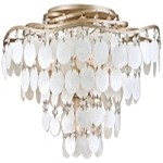 "Dolce Collection 4-Light 16"" Champagne Leaf Semi-Flush Mount with Crystal and Capiz Shells 109-34"