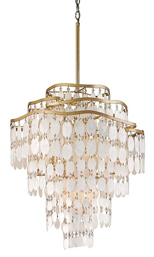 "Dolce Collection 12-Light 28"" Champagne Leaf Pendant with Crystal and Capiz Shells 109-412"