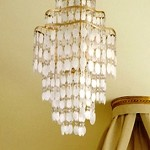 "Dolce Collection 7-Light 31"" Champagne Leaf Pendant with Crystal and Capiz Shells 109-47"
