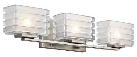 Brushed Nickel Bazely 24in. Wide 3 Light Bathroom Vanity Light
