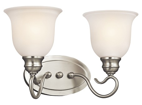 Brushed Nickel Tanglewood 14.75in. Wide 2-Bulb Bathroom Lighting Fixture