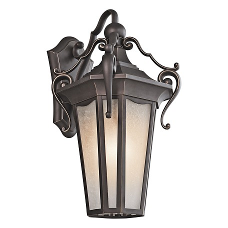 "Nob Hill Collection 1-Light 20"" Rubbed Bronze Outdoor Wall Lantern with Etched Seedy Glass 49417RZ"