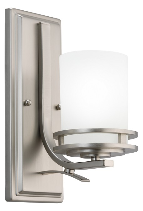 Brushed Nickel Hendrik Single Light 12in. Tall Wall Sconce with Satin Etched Glass Shade