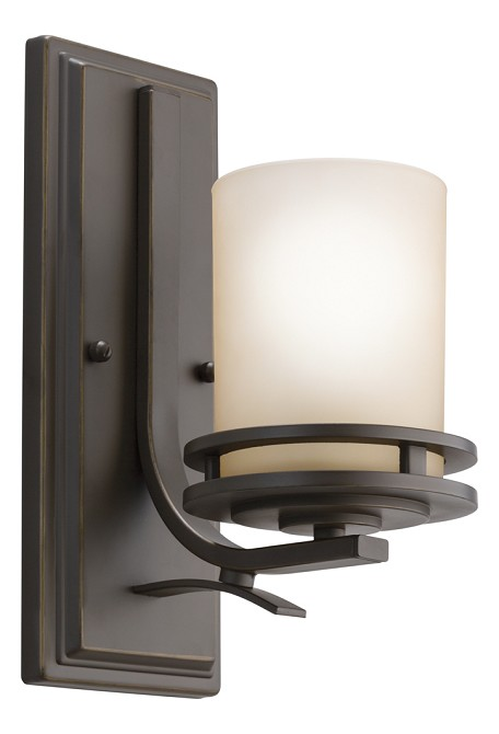 "Hendrik Collection 1-Light 12"" Olde Bronze Wall Sconce with Light Umber Etched Glass 5076OZ"