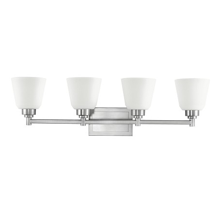 Brushed Nickel Berwick 30in. Wide 4-Bulb Bathroom Lighting Fixture