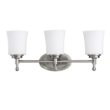 Brushed Nickel Wharton 22in. Wide 3-Bulb Bathroom Lighting Fixture